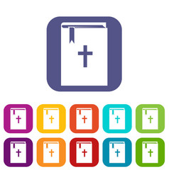 Bible icons set vector