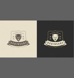 bison head logo emblem vector image