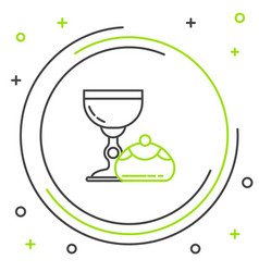 black and green line jewish goblet and hanukkah vector image