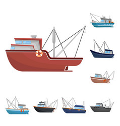 Boat and fishing icon vector