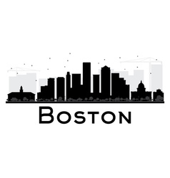 Boston City skyline black and white silhouette vector image