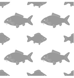 Carp and crucian of different sizes seamless vector