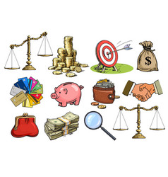 cartoon business set scales stack coins sack vector image