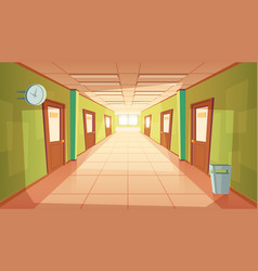 Cartoon school or college hallway vector