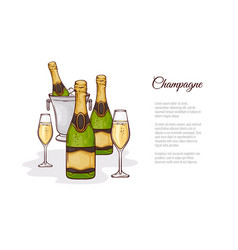 champagne in sketch style vector image