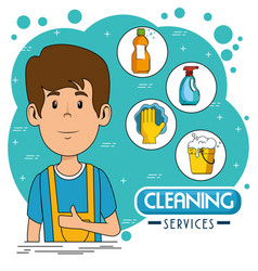 Cleaning service staff vector