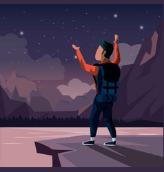 colorful night landscape of climber man vector image