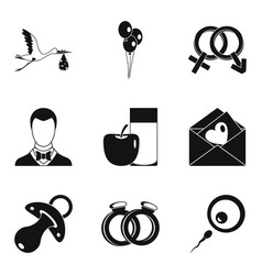Consequences of sex icons set simple style vector