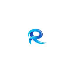 Creative blue r letter gradient alphabet logo vector