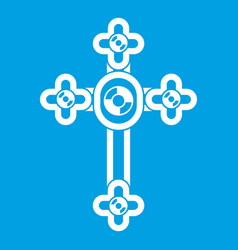 cross with diamonds icon white vector image