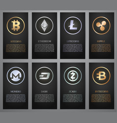 cryptocurrency black banner vector image