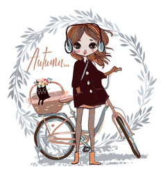 cute autumn girl with cat vector image