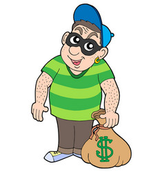 Cute bank thief vector