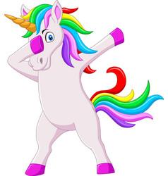 Cute dabbing horse unicorn cartoon dancing vector