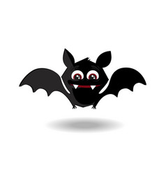 cute flying cartoon bat with fangs and red eyes vector image