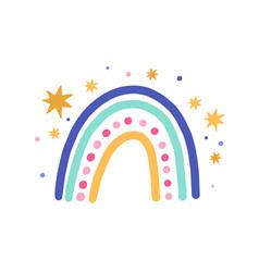 Cute funny magic rainbow with stars isolated vector