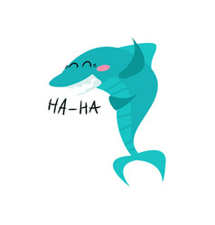 cute laughing shark cartoon character funny blue vector image