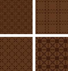 Dark brown seamless pattern background set vector