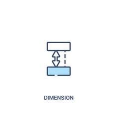dimension concept 2 colored icon simple line vector image