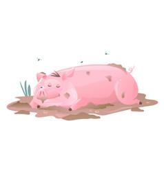 Dirty pig sleeps in mud vector