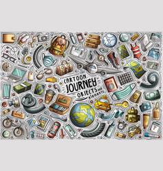 Doodle cartoon set travel 2021 theme vector