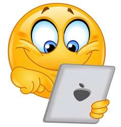 emoticon with tablet vector image