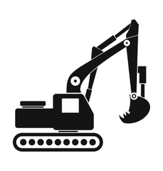 Excavator black simple icon vector