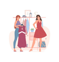 Female friends choosing clothes in shop together vector