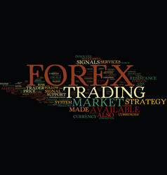 Forex and its strategies text background word vector