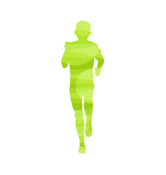 front view silhouette marathon runner - light vector image