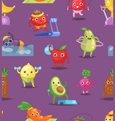 fruits sportsman fruity expression of vector image