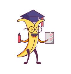 Funny fruit banana character graduate vector