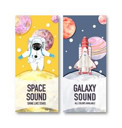 Galaxy flyer design with spaceman saturn rocket vector