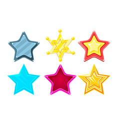 glossy different stars set game user interface vector image