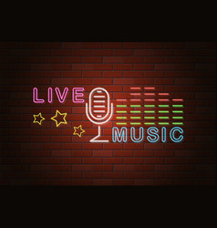 glowing neon signboard live music on brick wall vector image