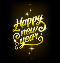 golden happy new year sign 2019 holiday vector image