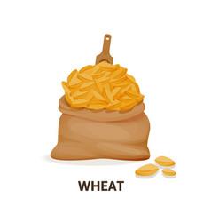 Grain crops in bags bag of wheat grain organic vector