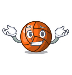 grinning volleyball character cartoon style vector image