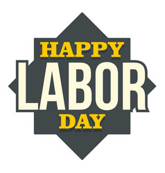 happy labor day text logo icon flat style vector image