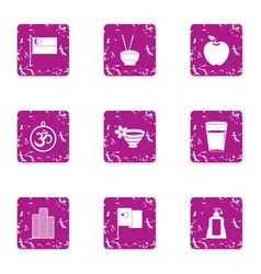 Hospitability icons set grunge style vector