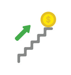 icon concept of dollar coin on top of stairs vector image