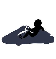 Isolated go kart girl racer on white background vector