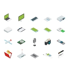 Isometric home and office computer equipment with vector