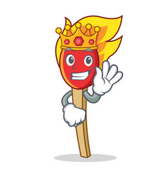King match stick mascot cartoon vector