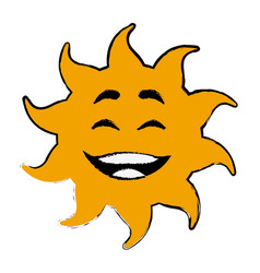 laughing sun cartoon mascot character vector image