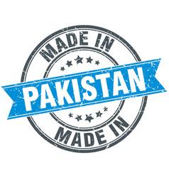 Made in pakistan blue round vintage stamp vector