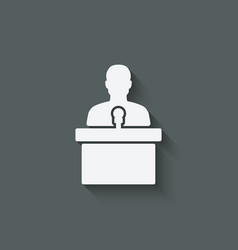 Man on podium with microphone vector