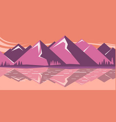 mountain landscape with mountain lake vector image