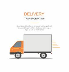Orange cargo delivery van isolated vector
