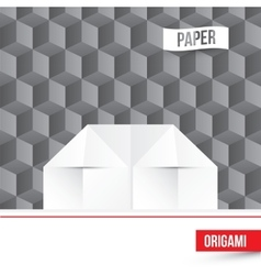 paper origami house icon on 3d cube vector image